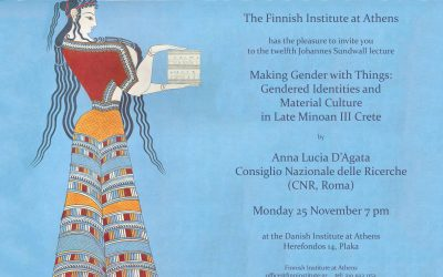 The Twelfth Johannes Sundwall Lecture, Monday 25 November 7pm (Athens)